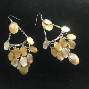 Bronze and silver dangling earrings